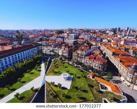 Praca de Lisboa -  view from Clerigos Tower in Porto, Portugal