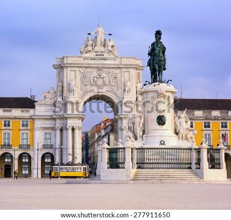 Praca do Comercio square, Lisbon, Portugal - stock photo