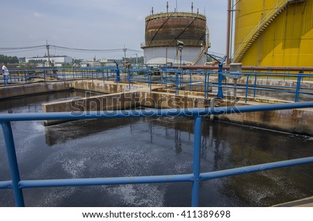 Prachinburi, THAILAND - March 21, 2013: Factorys waste water treatment plant in the area of Industrial Park, Prachinburi province, eastern of Thailand.