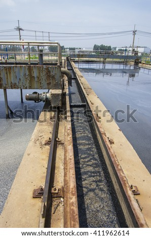 Prachinburi, THAILAND - March 21, 2013: In the waste water treatment plant at the area of Industrial Park, Prachinburi province, eastern of Thailand.
