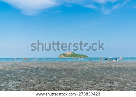Prachuap Khiri Khan, THAILAND - April, 2015: People relax Ao Manao Bay area during the Songkran Festival, Ao manao bay, Prachuap Khiri Khan, Thailand in Circa April 2015