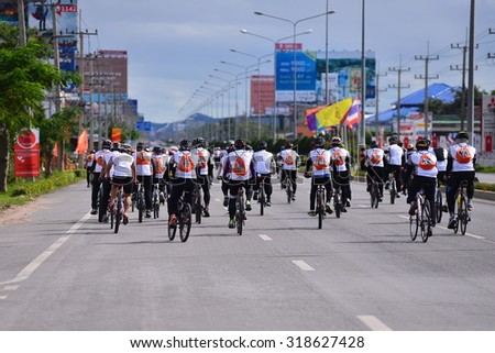 PRACHUAP KHIRI KHAN,Thailand-September 12, 2015:Unidentified cyclists at Ratchapak Bike & concert event show respected to King of Thailand  on september  16, 2015, Prachuap khiri khan,Thailand.