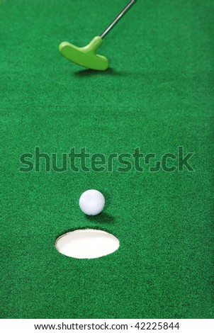 practice golf putting - stock photo