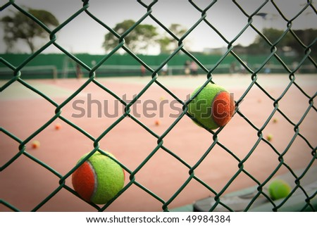 Practice in the tennis court - stock photo