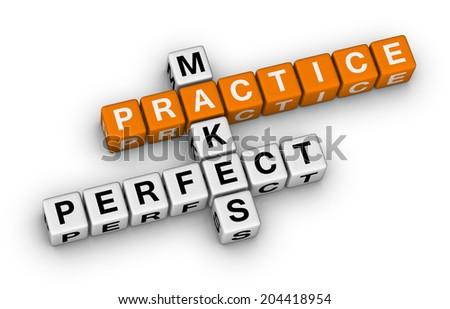 practice makes perfect (orange-white crossword puzzles series) - stock photo
