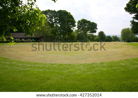 Practice Putting Green at Haigh Country Park Golf Course near to Wigan, Lancashire, United Kingdom - stock photo