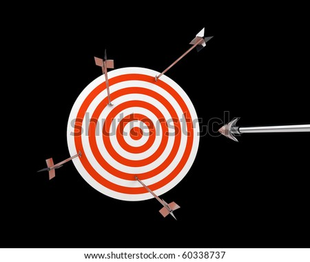 practice target with silver arrows - stock photo
