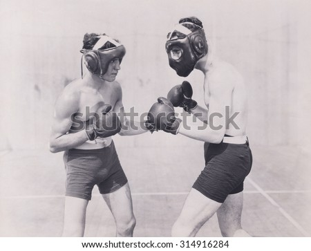 Practicing for the big fight - stock photo