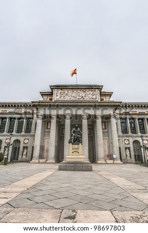 Prado Museum facade and Cervantes statue at Madrid, Spain