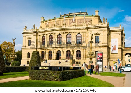 PRAGUA, CZECH REPUBLIC- October, 10: Rudolfinum concert hall, Prague, Czech republic on October,10,2013. Concert and exhibition hall,which now bears name of Jan Palach. Was opened February 7, 1885