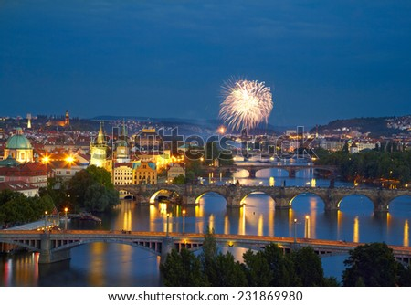 Prague after sunset with fireworks - stock photo