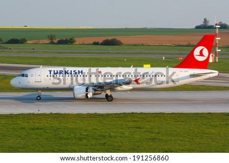 PRAGUE - APRIL 23: A320 Turkish Airlines lands  PRG in Prague, Czech Republic on April 23, 2014. Turkish Airlines is the national flag carrier airline of Turkey - stock photo