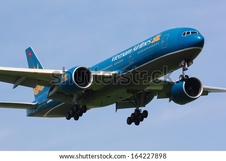PRAGUE - APRIL 26:B777 Vietnam Airlines aproaches for landing in PRG in Prague, CZE on Aprli 26, 2009. Vietnam Airlines exists since 1956 and has 71 aircraft in its fleet.