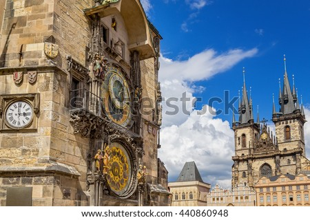 Prague Astronomical Clock and gothic Church of Our Lady Before Tyn in Old Town