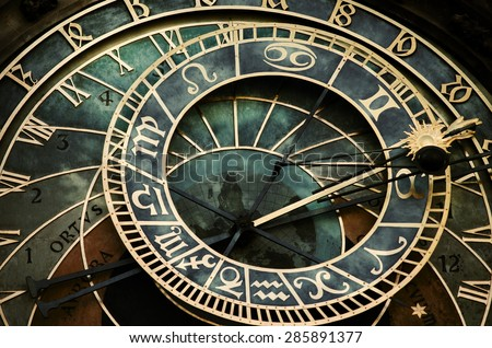 Prague astronomical clock. Astronomical clock in dark colors.