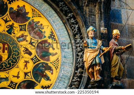 Prague Astronomical Clock At Old Town City Hall From 1410 Is The Third Oldest Astronomical Clock In World And Oldest One Still Working - stock photo