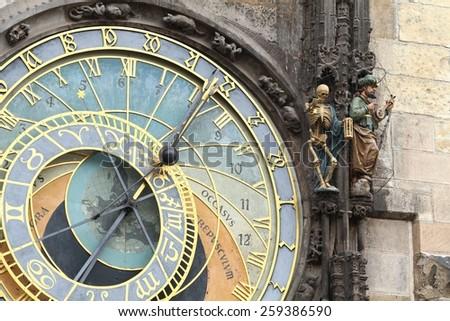 Prague astronomical clock detail - stock photo