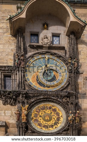 Prague astronomical clock or Prague orloj. Medieval astronomical clock on the Old Town Hall in Prague, Czech Republic - stock photo
