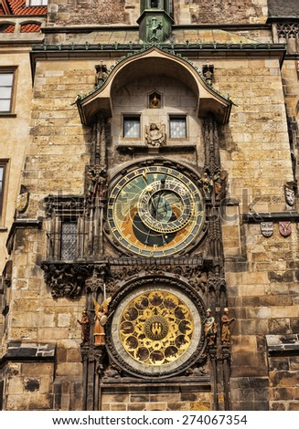 Prague Astronomical Clock or the Prague Orloj. - stock photo