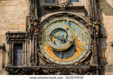 Prague Astronomical Clock Orloj in the Old Town of Prague - stock photo