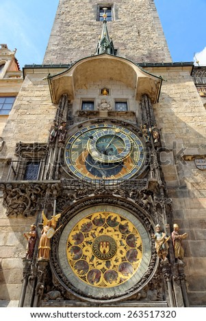 Prague Astronomical Clock (Orloj) in the Old Town of Prague, Czech Republic. - stock photo