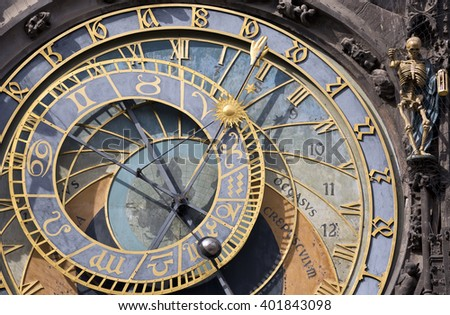 Prague Astronomical Clock (Orloj) in the Old Town of Prague, Czech Republic - stock photo