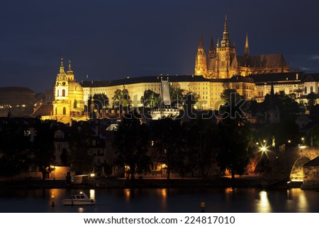 Prague at night, Charles bridge and Prague castle