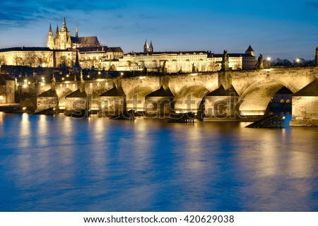 Prague at night, Charles Bridge and the Castle from across the river