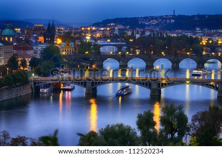 Prague at night. Czech Republic - stock photo