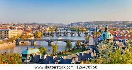 Prague at sunset - stock photo