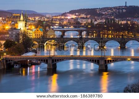 Prague at Twilight, view of Bridges on Vltava  - stock photo
