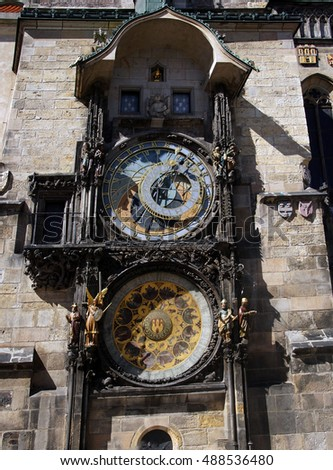 PRAGUE - AUG 31, 2016 - Old Town Hall with astronomical clock Prague, Czech Republic