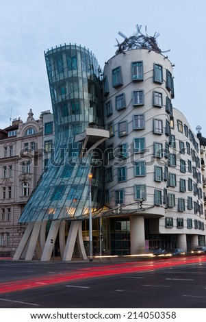 PRAGUE - AUGUST 23: Modern building, also known as the Dancing House, designed by Vlado Milunic and Frank O. Gehry stands on August 23, 2013 in Prague, Czech Republic  - stock photo