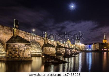 Prague bridge night scene - stock photo
