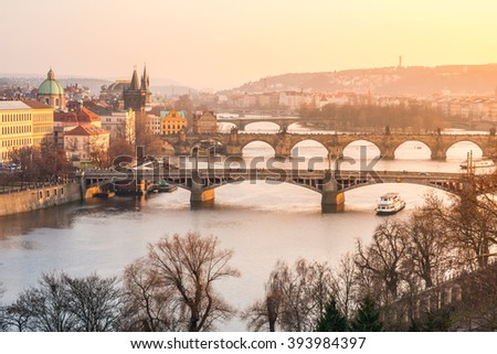 Prague bridges at sunset time