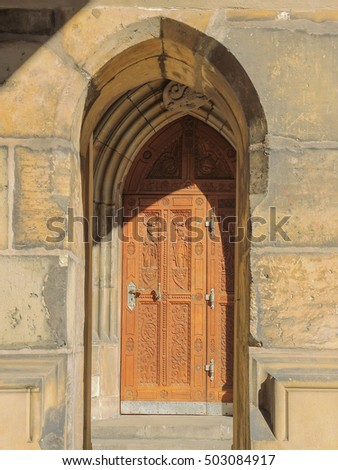 Prague, capital of the Czech Republic. center of Bohemia. historic center included in the Unesco World Heritage. The largest ancient castle in the world. Door at The Cathedral of Saints Vitus