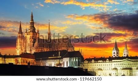 Prague Castle at sunset - Czech republic - stock photo