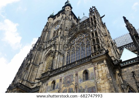 Prague Castle Gothic Architecture St Vitus Stock Photo Royalty Free