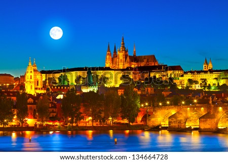 "Prague Castle in the evening (Czech Republic). Prague is often called ""the Golden City"". - stock photo"