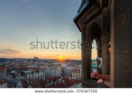 Prague Castle, St. Vitus Cathedral and Old Town Skyline Cityscape Panorama from Prague Astronomical Clock Tower Old Town Hall at Sunset Summer, Czech Republic - stock photo