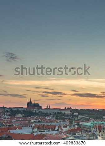 Prague Castle, St. Vitus Cathedral and Old Town Skyline Cityscape Panorama from Prague Astronomical Clock Tower Old Town Hall at Sunset Summer