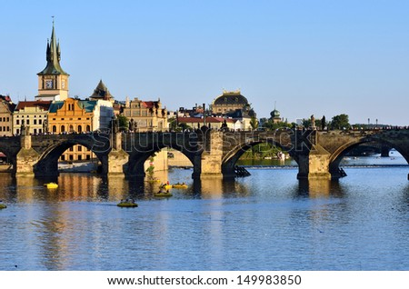 Prague, Charles Bridge - stock photo