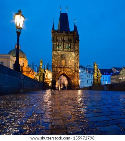 Prague, Charles Bridge at night - stock photo