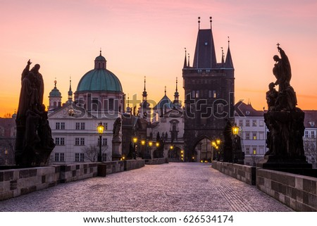 Prague, Charles Bridge (Karluv Most) in the morning, the most beautiful bridge in Czechia. Czech Republic