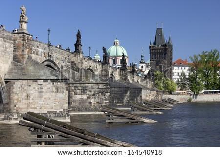 Prague - Charles Bridge, Vltava River and Bridge Tower - stock photo