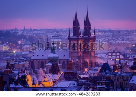 Prague church in morning light. Prague in winter.