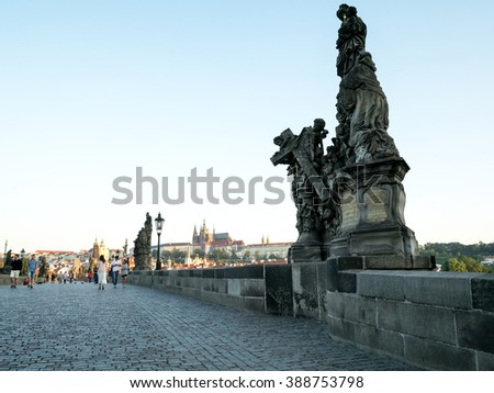 PRAGUE - CIRCA JULY 2015: Charles bridge early in the morning on July, 2015 in Prague, Czech Republic. It's a famous medieval bridge that crosses the Vltava river. - stock photo