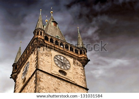 Prague city hall on Old Town square - stock photo
