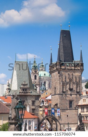 Prague city, one of the most beautiful city in Europe. Charles Bridge - stock photo