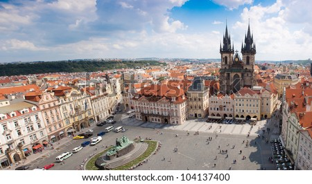 Prague city, one of the most beautiful city in Europe. Panorama. - stock photo